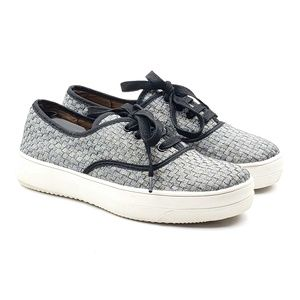 Bernie Mev silver woven lace up casual sneakers